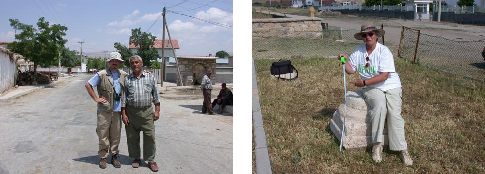 Autor mit Hassan Efe in Hatunsaray und die Mutter des Autors im Lapiradium beim Vermessen antiker Steine