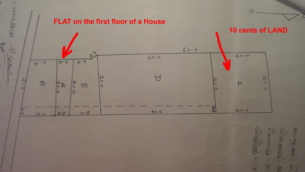 Plan of property (LAND and the place of FLAT on the first floor)