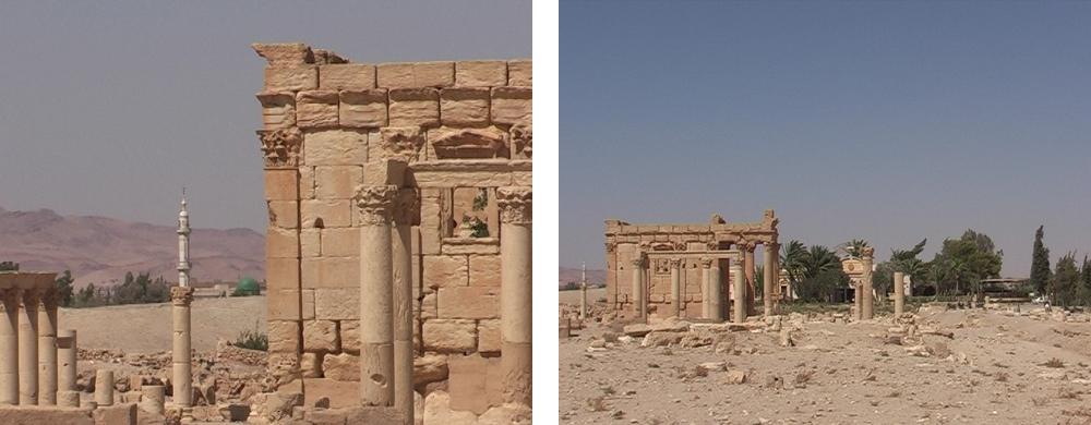 Baal-Schamin Tempel in Palmyra mit dem Minaret im Hintergrund