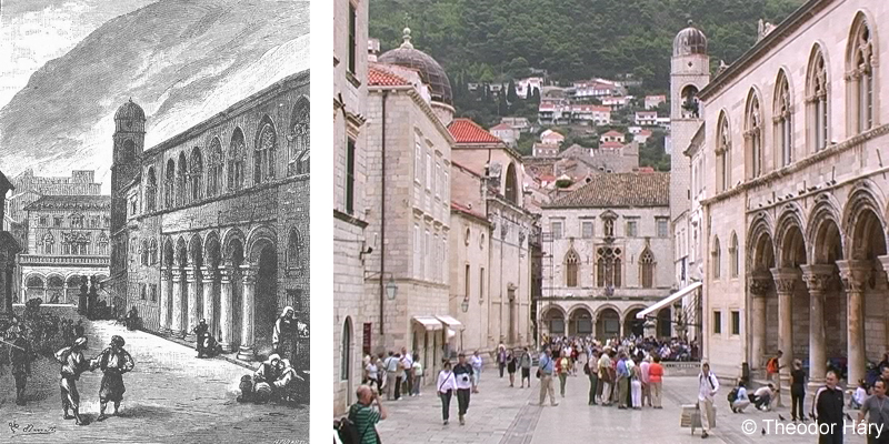 La grande place de Raguse (Dubrovnik 1885 und heute)
